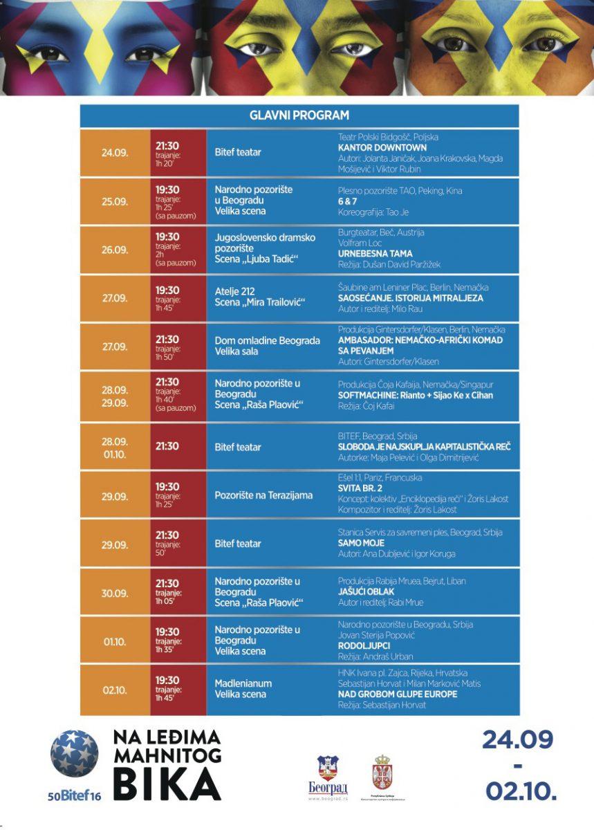 Bitef 2016 program (repertoar)