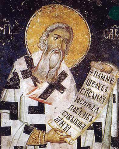 Sv. Sava Nemanić. Freska iz XIII veka u crkvi Svetih Apostola u Peći, Kosovo.
